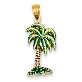 Enameled Palm Tree Pendant 14k Gold K2897