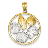 Shell Cluster in Circle Pendant 14k Two-Tone Gold K2928