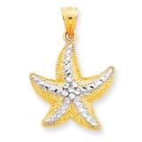 Rhodium Diamond-cut Starfish Pendant 14k Gold K2941