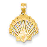 Satin and Polished Shell Pendant 14k Gold K2969