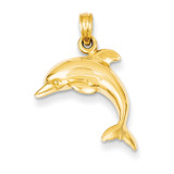 Jumping Dolphin Pendant 14k Gold K3012