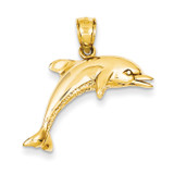 Jumping Dolphin Pendant 14k Gold K3013