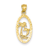 Dolphin and Palm Tree Pendant 14k Gold K3016