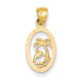 Dolphin and Palm Tree Pendant 14k Gold K3017