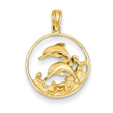 Double Dolphin Circle Pendant 14k Gold K3018