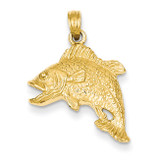 Jumping Bass Fish Pendant 14k Gold K3045