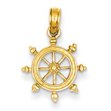 Ship Wheel Pendant 14k Gold K3066