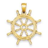 Ship Wheel Pendant 14k Gold K3071