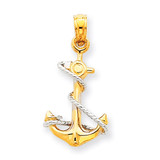 Anchor with Rope Pendant 14k Two-Tone Gold K3074