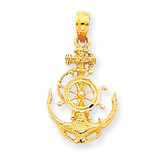 Small Anchor with Wheel Pendant 14k Gold K3078