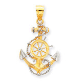 14k Gold& Rhodium Anchor with Rope Pendant 14k Gold K3079