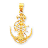 Medium Anchor with Wheel Pendant 14k Gold K3080