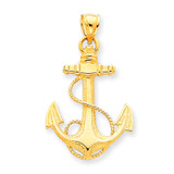 Anchor with Rope Pendant 14k Gold K3082