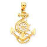 Large Anchor with Wheel Pendant 14k Gold K3083