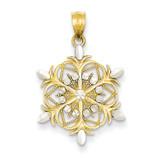 Diamond-cut Snowflake Pendant 14K Gold & Rhodium K3190