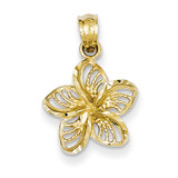 Filigree Plumeria Pendant 14k Gold Diamond-cut K3225