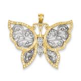 Diamond-cut Butterfly Pendant 14K Gold & Rhodium K3238
