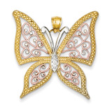 Diamond-cut Butterfly Pendant 14k Yellow & Rose Gold with Rhodium K3249