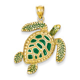 3-D Enameled Sea Turtle Pendant 14k Gold K3305