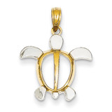 Sea Turtle Pendant 14K Gold & Rhodium K3307