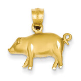Pig Pendant 14k Gold Diamond-cut K3319