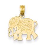 Textured Elephant Pendant 14k Gold K3332