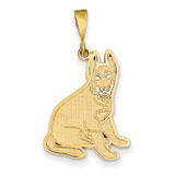 German Shepherd Pendant 14k Gold K3395