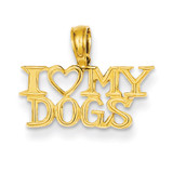 I Heart My Dogs Pendant 14k Gold K3422