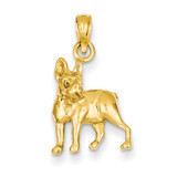 Boston Terrier Dog Pendant 14k Gold K3425