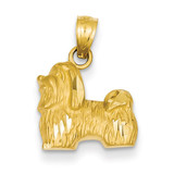 Shih Tzu Pendant 14k Gold Diamond-cut K3432