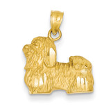 Shih Tzu Pendant 14k Gold Diamond-cut K3433