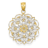 Filigree Hearts with Scalloped Edge Pendant 14K Gold & Rhodium K3462