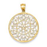 Rhodium Diamond-cut Circle Pendant 14k Gold K3484