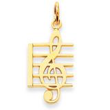 Music Note Charm 14k Gold K3503
