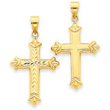 Reversible Diamond-cut Cross Pendant 14k Gold K3631