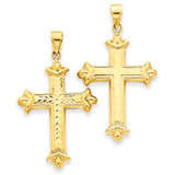 Reversible Diamond-cut Cross Pendant 14k Gold K3632