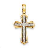 Solid Cross Pendant 14k Two-Tone Gold K3664