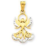 Rhodium Love Angel Pendant 14k Gold K3748