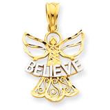 Rhodium Believe Angel Pendant 14k Gold K3749