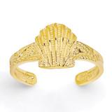Scallop Shell Toe Ring 14k Gold Diamond-cut K3833