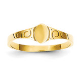 Oval Baby Signet Ring 14k Gold Size 3 K3849