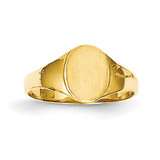 High Polished Oval Baby Signet Ring 14k Gold K3851