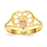 Diamond Cut 15 Heart Ring 14k Two-Tone Gold K3886