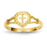 Childs Heart & Cross Ring 14k Gold Diamond-cut K3936