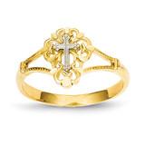 Diamond Cut Cross Ring 14k Two-Tone Gold K3939