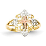 Cross Ring 14k Yellow & Rose Gold with Rhodium K3944