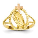 Diamond Cut Praying Hands Cross Ring 14k Two-Tone Gold K3965
