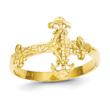 Diamond Cut Crucifix Ring 14k Gold K3969