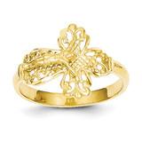 Diamond Cut Crucifix Ring 14k Gold K3970
