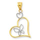 Butterfly in Heart Pendant 14K Gold & Rhodium K3979
